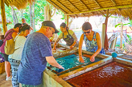 CHIANG MAI, THAILAND - MAY 5, 2019: Tourists mix paper dough with water in tank and get experience of handmade paper production in Poopoopaper park, on May 5 in Chiang Mai