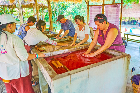 CHIANG MAI, THAILAND - MAY 5, 2019: The group of tourists gets experience in making of paper in Poopoopaper park, people mix the paper pulp in water tunk, on May 5 in Chiang Mai