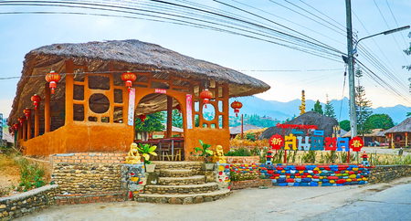SANTICHON, THAILAND - MAY 5, 2019: Adobe pavilion of the traditional restaurant in Chinese Cultural Center of mountain tea village, on May 5 in Santichon