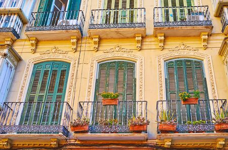 The small vintage balconies of the old edifice with flowers in pots, wooden shutters on doors and carved frames, Malaga, Spain