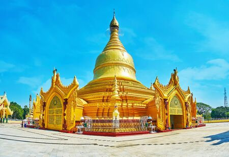 Maha Wizaya (Mahavijaya) Pagoda is one of the most unusual Burmese temples, its main stupa has entrnace portals with rotunda hall inside, Yangon, Myanmar 版權商用圖片
