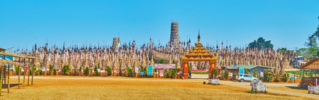KAKKU, MYANMAR - FEBRUARY 20, 2019: Historical Kakku Pagodas site, including more than two thousands of ancient stupas, decorated with fretwork, carved patterns and hti umbrellas, on February 20 in Kakku Redakční