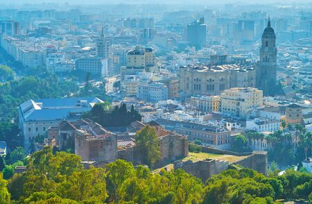 Enjoy the top view on medieval Alcazaba fortress and Cathedral from the Gibralfaro castle, Spain