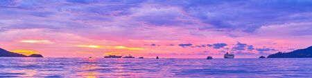 Relax on Patong coast with a view on beautiful sunset sky, reflecting on rippled waters, Phuket, Thailand Reklamní fotografie