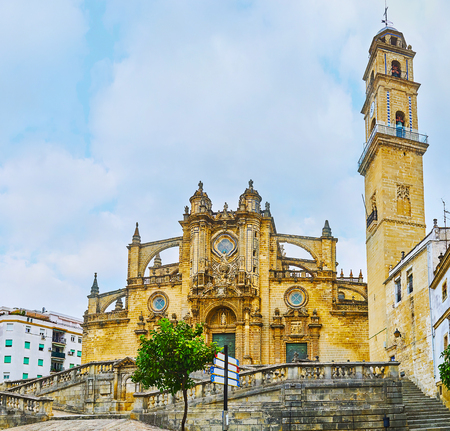 The Holy Saviour Cathedral is one of the main and most beautiful city landmarks, famous for great exterior with flying buttresses, carved decorations and tall bell tower, Jerez, Spain