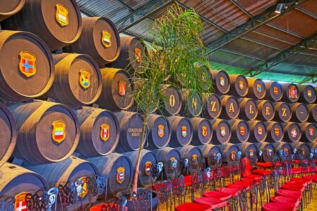 JEREZ, SPAIN - SEPTEMBER 20, 2019: Real Bodega de la Concha of Tio Pepe winery is historic tasting room, decorated with sherry casks, containing Gonzalez Byass brand name and flags of countries-wine importers, on September 20 in Jerez Editorial