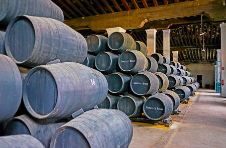 JEREZ, SPAIN - SEPTEMBER 20, 2019: The wine museum hall of Bodegas Tio Pepe winery with stacked black casks, marked with Gonzalez Byass brand name, on September 20 in Jerez Editorial