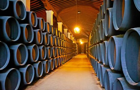 JEREZ, SPAIN - SEPTEMBER 20, 2019: Visit museum of wine in Bodegas Tio Pepe winery of Gonzalez Byass Sherry House and watch solera ageing and traditional winemaking process, on September 20 in Jerez