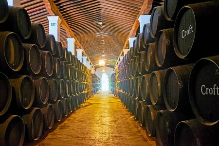 JEREZ, SPAIN - SEPTEMBER 20, 2019: Visit wine museum of Bodegas Tio Pepe winery with hundreds of stacked oak casks with fine sherry wine, on September 20 in Jerez Editorial