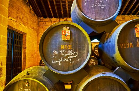JEREZ, SPAIN - SEPTEMBER 20, 2019: The old Noe Sherry cask, signed by Steven Spielberg and Amy Irving in King's Winery (Bodega Los Reyes) of Bodegas Tio Pepe, on September 20 in Jerez