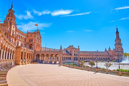 Plaza de Espana is one of the most beloved places for daily walks, enjoying magnificent combination of Andalusian and Moorish styles, Seville, Spain