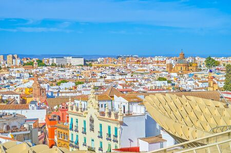 The viewpoints of Metropol Parasol are the perfect places to overview historical residential neighborhoods of Seville from the birds eye latitude, Spain