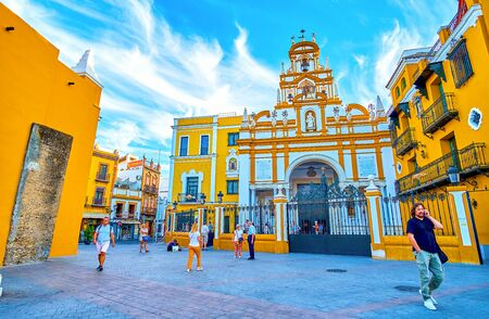 SEVILLE, SPAIN - OCTOBER 1, 2019: The beautiful Basilica of the Macarena is one of the most honoured religion places in the city, on October 1 in Seville