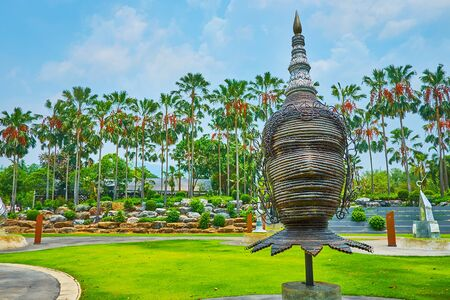 CHIANG MAI, THAILAND - MAY 7, 2019: Thai style modern sculpture on the grounds of open air Grand amphitheater of Rajapruek Royal Park, on May 7 in Chiang Mai Editorial