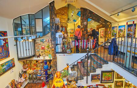 VIENNA, AUSTRIA - FEBRUARY 19, 2019: The souvnir stores of Hundertwasser village offer different handmade souvenirs of local designers and young artisans, on February 19 in Vienna Redactioneel