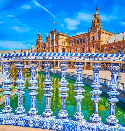 Plaza de Espana boasts beautiful ceramic decorations in Andalusian style, Seville, Spain