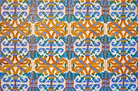 The complex floral pattern on the authentic Andalusian ceramic tile, church of Our Lady of O, Sanlucar, Spain