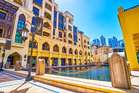 DUBAI, UAE - MARCH 3, 2020: The roof courtyard with a pool and outdoor terrace of restaurant is one of the most calm and cozy places in noisy Dubai Mall area, on March 3 in Dubai