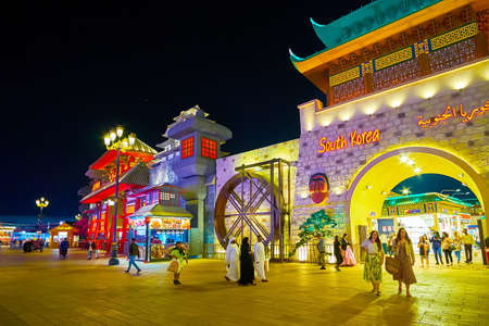 DUBAI, UAE - MARCH 5, 2020: The South Korea Pavilion of Global Village Dubai, built like the replica of the medieval fortress with gable roof, massive stone-like walls and carvings, on March 5 in Dubai Redakční