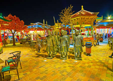 DUBAI, UAE - MARCH 5, 2020: The replica of Terracotta Army warriors amid the food court of China Pavilion of Global Village Dubai, on March 5 in Dubai Editorial