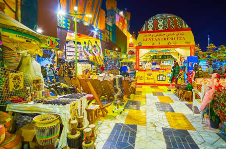 DUBAI, UAE - MARCH 5, 2020: The Africa pavilion of Global Village Dubai is perfect place to relax, drink Kenyan tea or Ethiopian coffee, choose souvenirs or other handmade items, on March 5 in Dubai