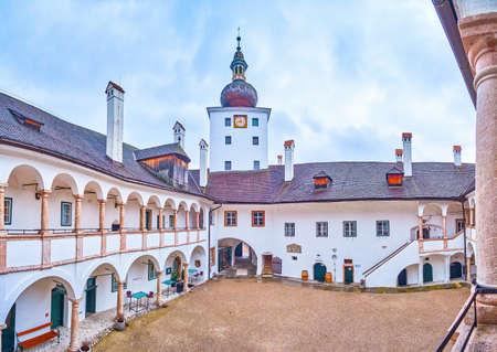 GMUNDEN, AUSTRIA - FEBRUARY 22, 2019: The Schloss Ort castle with its preserved courtyard is a fine example of medieval Austrian fortification architecture, on February 22 in Gmunden