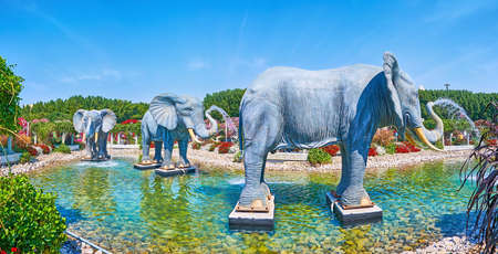 DUBAI, UAE - MARCH 5, 2020: Panorama of the shallow pond with large elephant sculptures, serving as the fountains, Miracle Garden, on March 5 in Dubai