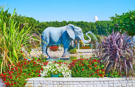 DUBAI, UAE - MARCH 5, 2020: The elephant fountain is seen through the colorful flowers and green plants, Miracle Garden, on March 5 in Dubai