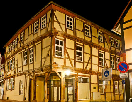 The corner of medieval half-timbered house, located in old town of Hamelin, Lower Saxony, Germany