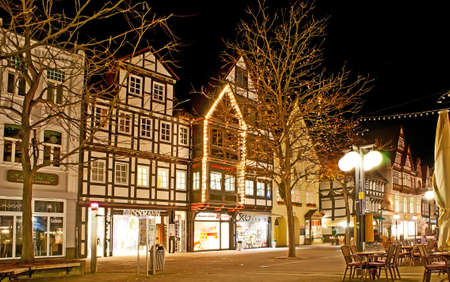 HAMELIN, GERMANY - NOVEMBER 22, 2012: The old town is popular for its half-timbered houses, like these, located in Backerstrasse street, on November 22 in Hamelin Editorial