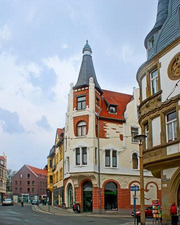 QUEDLINBURG, GERMANY - NOVEMBER 22, 2012: The corner facade of Art Nouveau style mansion in  Heilige-Geist-Strasse street, on November 22 in Quedlinburg