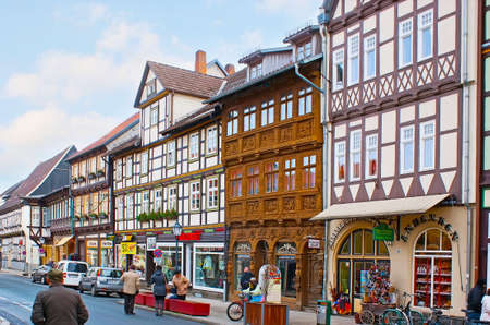 WERNIGERODE, GERMANY - NOVEMBER 23, 2012: Explore Wernigerode old town and ornate half-timbered houses of Breite Strasse, on November 23 in Wernigerode Editorial