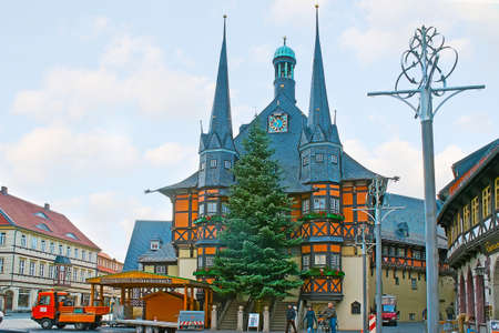 WERNIGERODE, GERMANY - NOVEMBER 23, 2012: The Marktplatz (Market Square) with spectacular half-timbered building of Rathaus (Town Hall), on November 23 in Wernigerode