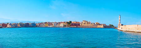 Panoramic view of Chania marina, surrounded  colorful houses, Kucuk Hasan Pasha , Firkas Fortress and Venetian lighthouse