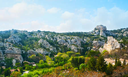 The scenic rocky landscape of Alpilles mountains from the hilltop of Les Baux-de-Provence, France