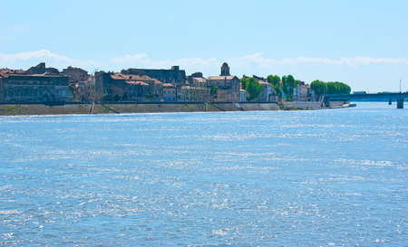 Enjoy the view of the old Arles with Rhone River on the foreground, France