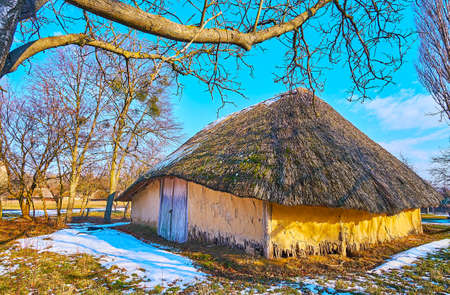 The picturesque rural scene - an old clay barn with straw roof and wooden door amid the green court, covered with melting snow, early spring, Pyrohiv Skansen, Kyiv, Ukraine
