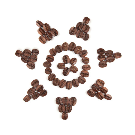 Sun clipart made with coffee beans for creative projects, frames and design, isolated on white photo