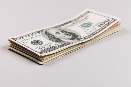 stack of dollar bill: Money in dollars closeup, one hundred dollars banknotes