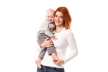 baby love: Picture of happy mother with adorable baby isolated on white Stock Photo