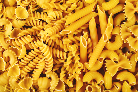 Background made of different types of pasta