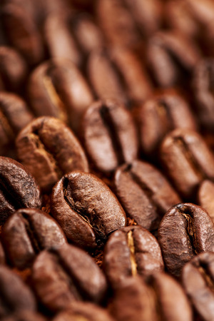 espesso: Closeup of group coffee beans lying on ground coffee. Macro of coffee beans. Can be also used as background. Stock Photo