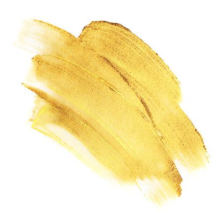Beautiful textured golden strokes isolated on white background. Standard-Bild
