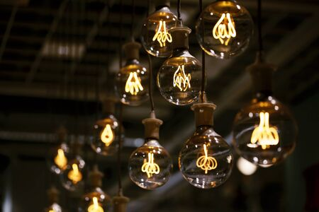 tungsten: Group of lamps with interesting shape of tungsten filament. Stock Photo
