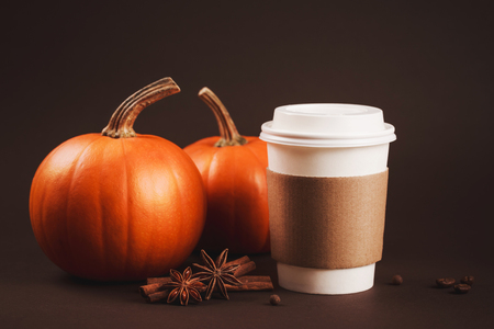 Paper cup of coffee to take away with spices and pumpkin. Concept of autumn spicy latte. Place for text or on brown coffee holder.