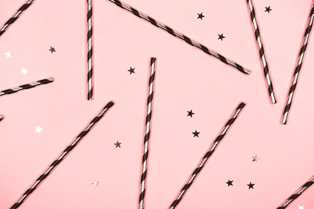 Festive pink background, flat lay