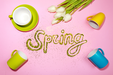 cup four: Word SPRING made of golden glitter