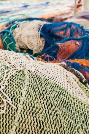 trawler net: Fishing nets drying in the sun