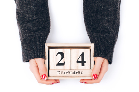 Hands with Christmas Eve date