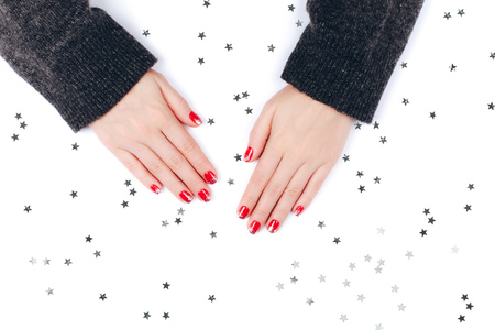 Red festive female manicure
